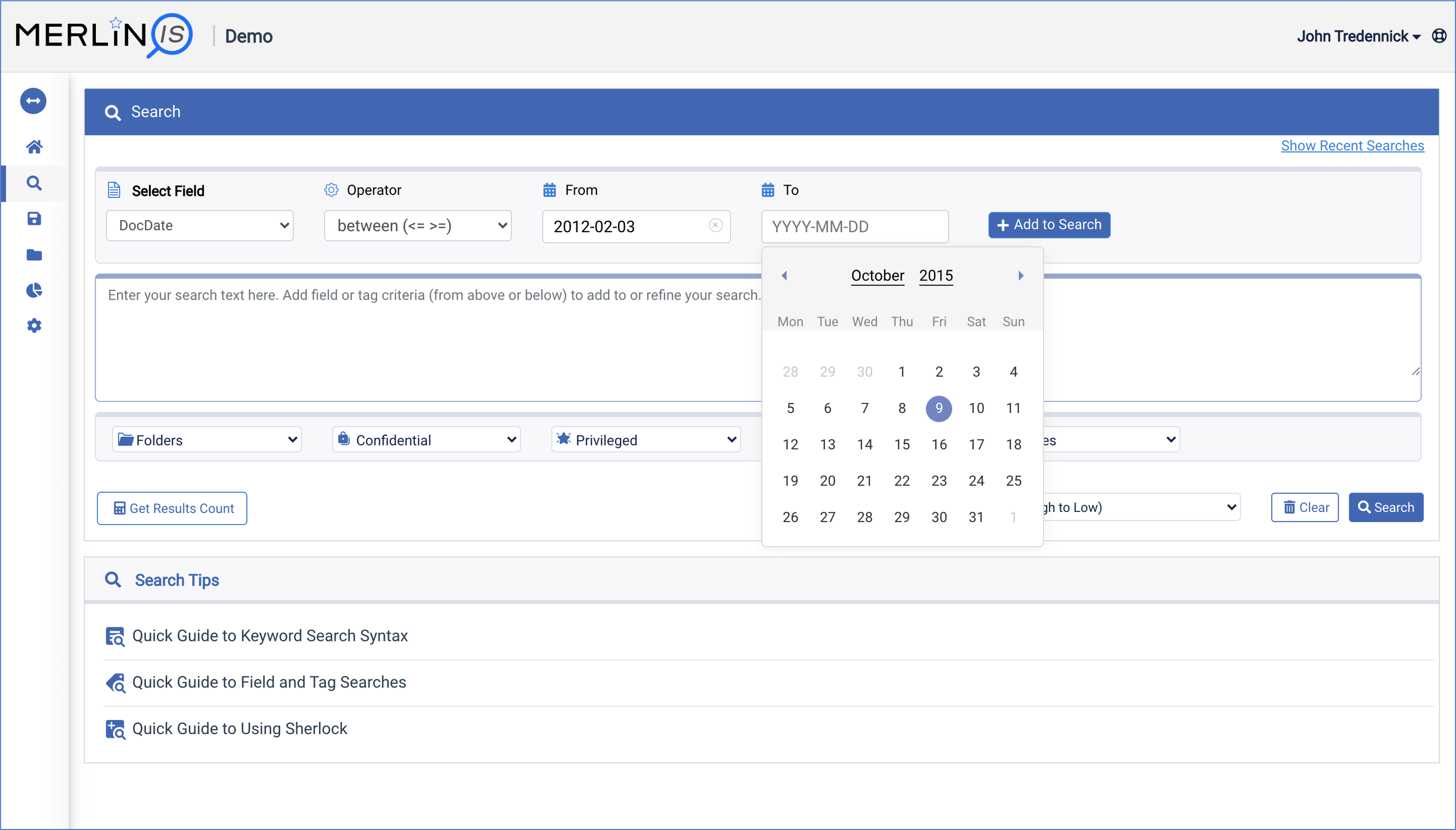 Building a date range search